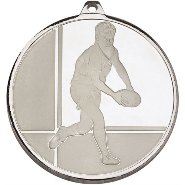 """Frosted Glacier Silver Rugby Medal 50mm (2"""")"""
