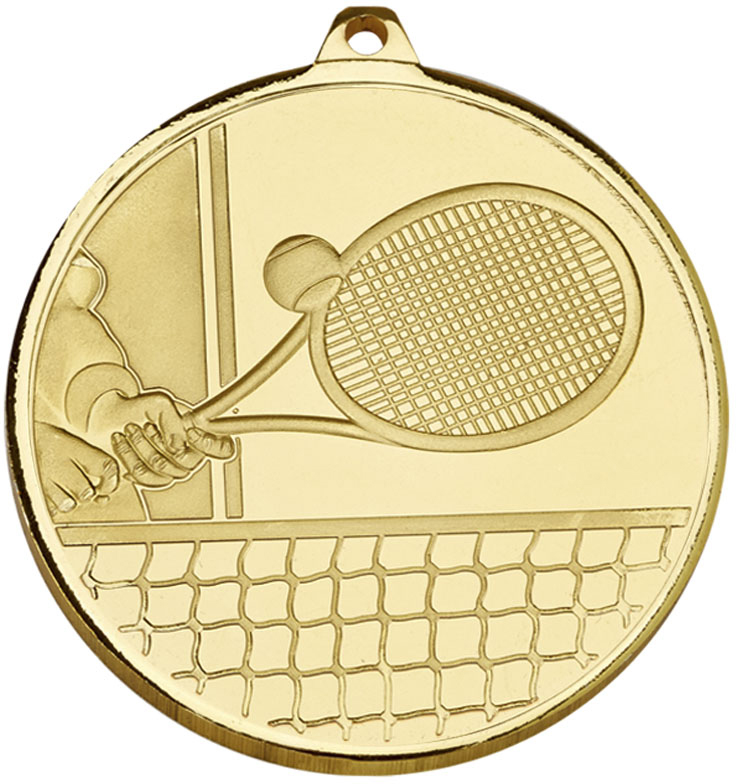 "Frosted Glacier Gold Tennis Medal 50mm (2"")"