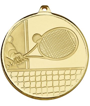 "Frosted Glacier Gold Tennis Medal 50mm (2"")"