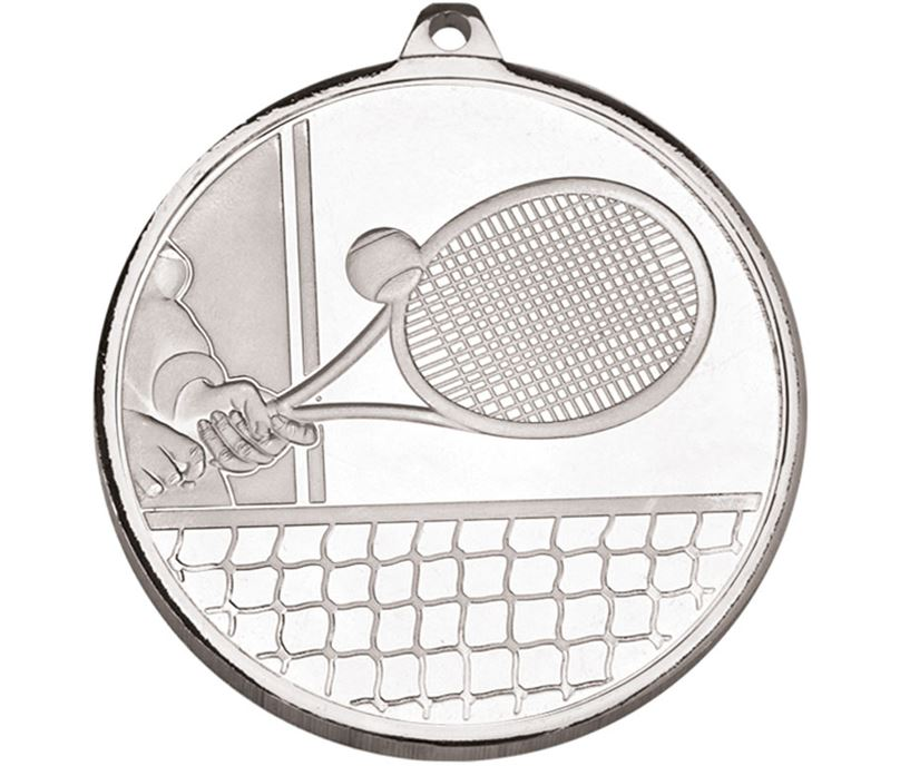 "Frosted Glacier Silver Tennis Medal 50mm (2"")"