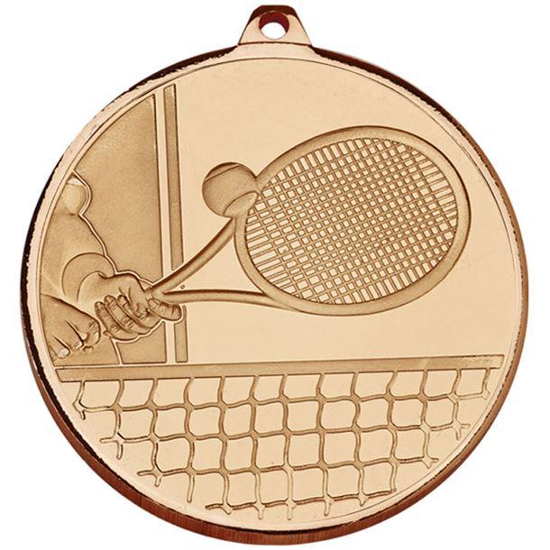 "Frosted Glacier Bronze Tennis Medal 50mm (2"")"