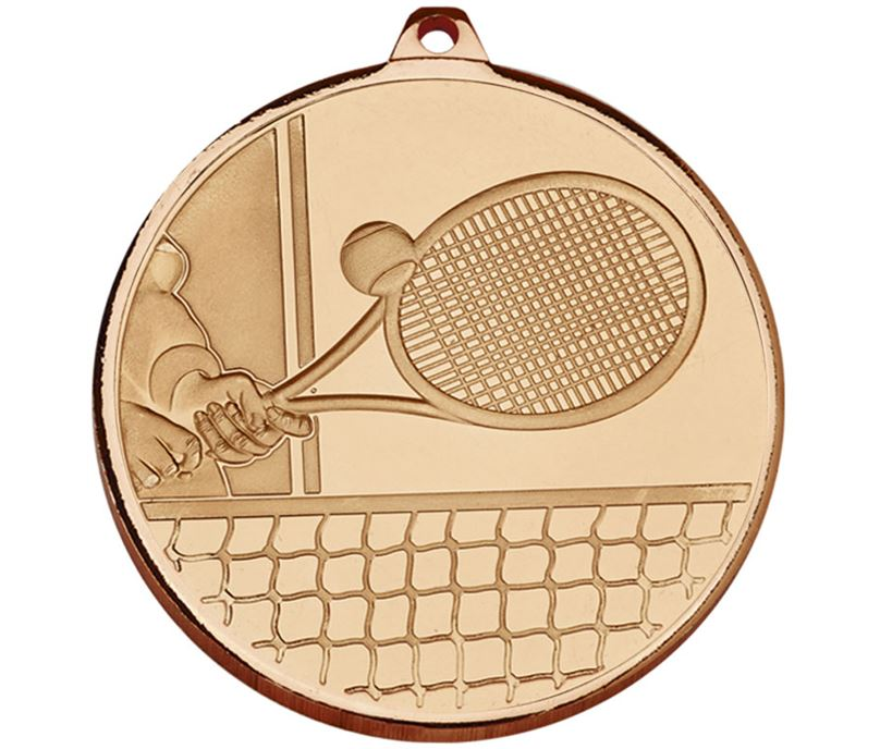 "Frosted Glacier Bronze Tennis Medal 50mm (2"")"