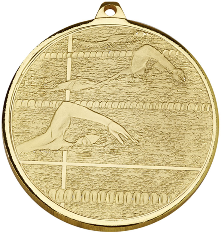 """Frosted Glacier Gold Swimming Medal 50mm (2"""")"""