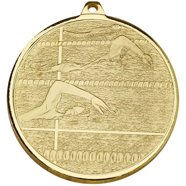 "Frosted Glacier Gold Swimming Medal 50mm (2"")"