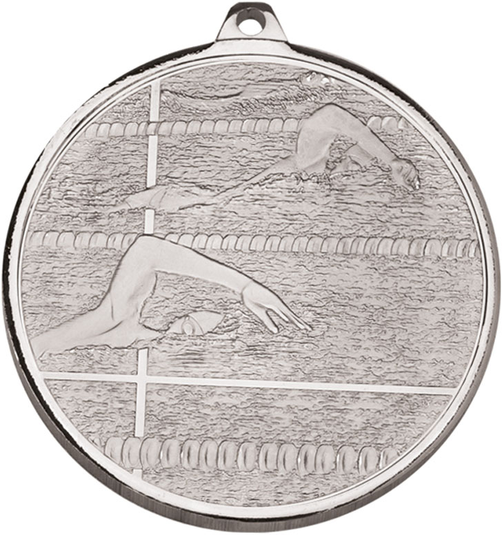"Frosted Glacier Silver Swimming Medal 50mm (2"")"