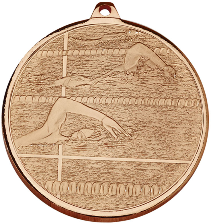 """Frosted Glacier Bronze Swimming Medal 50mm (2"""")"""