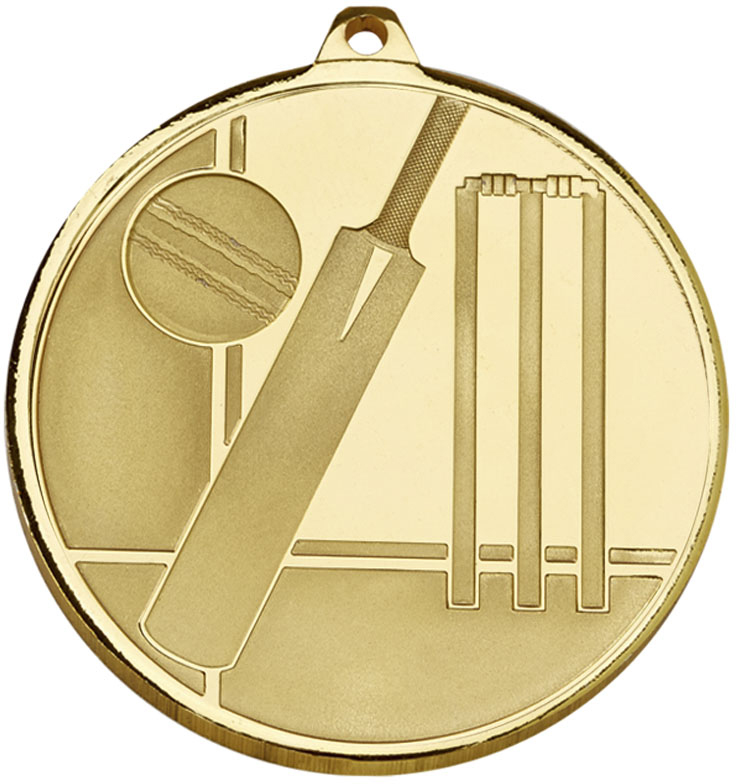 "Frosted Glacier Gold Cricket Medal 50mm (2"")"