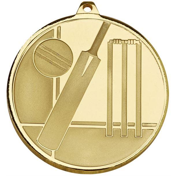 """Frosted Glacier Gold Cricket Medal 50mm (2"""")"""