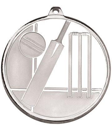 "Frosted Glacier Silver Cricket Medal 50mm (2"")"