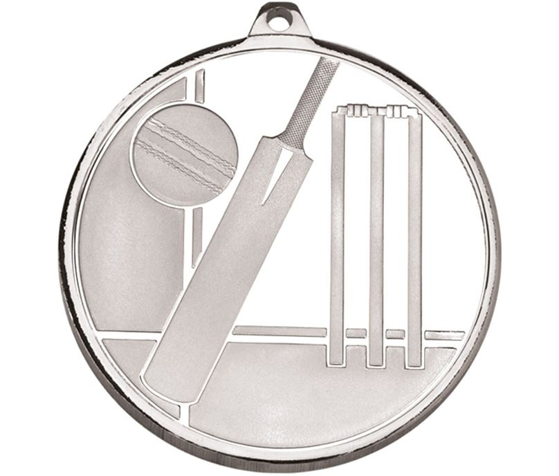 "Frosted Glacier Silver Cricket Medal 50mm (2"")"