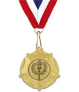 """Gold Tudor Rose Medal with Red, White & Blue Ribbon 5cm (2"""")"""