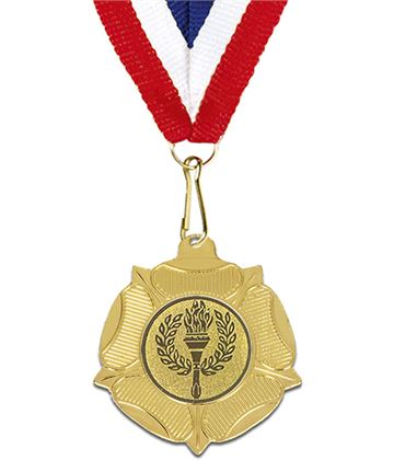 "Gold Tudor Rose Medal with Red, White & Blue Ribbon 5cm (2"")"