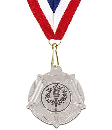 "Silver Tudor Rose Medal with Red, White & Blue Ribbon 5cm (2"")"
