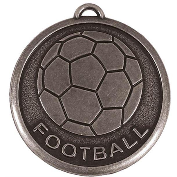 "Silver Football Word & Ball Medal 50mm (2"")"
