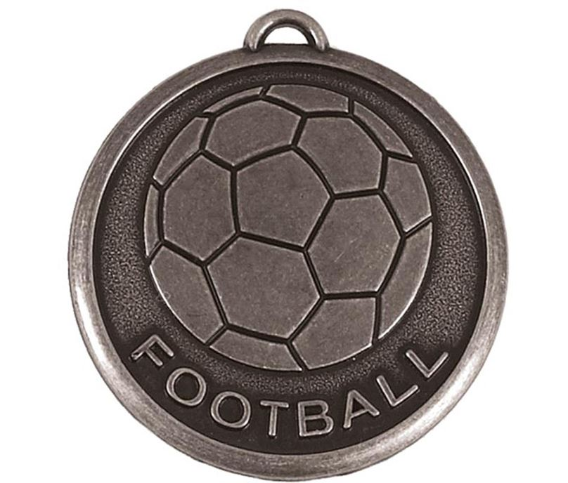 "Silver Football Word & Ball Medal 50mm (2"")"