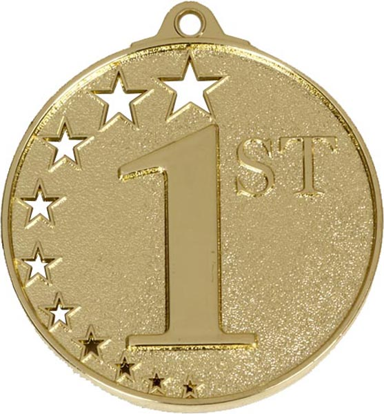"Gold 1st Place Medal with Stars 52mm (2"")"