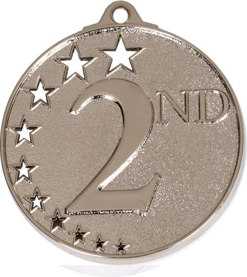 "Silver 2nd Place Medal with Stars 52mm (2"")"