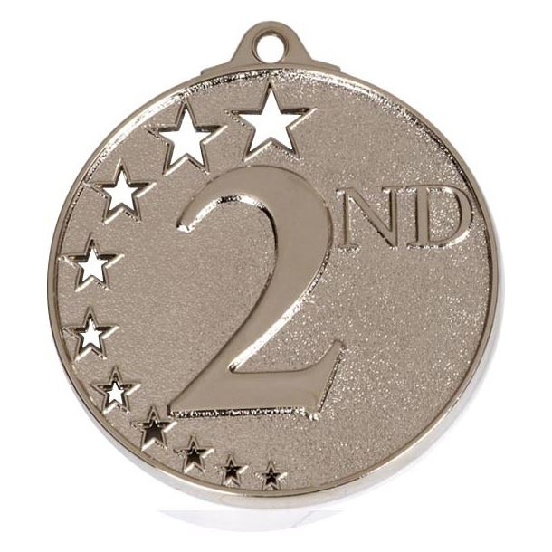"""Silver 2nd Place Medal with Stars 52mm (2"""")"""