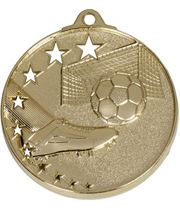 """Gold Football Boot and Stars Medal 52mm (2"""")"""