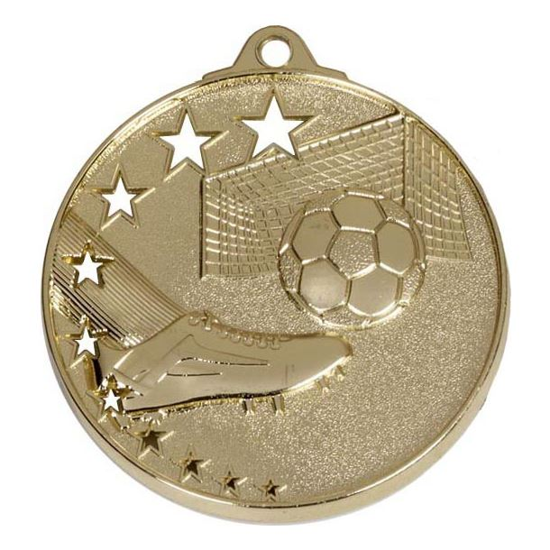 "Gold Football Boot and Stars Medal 52mm (2"")"