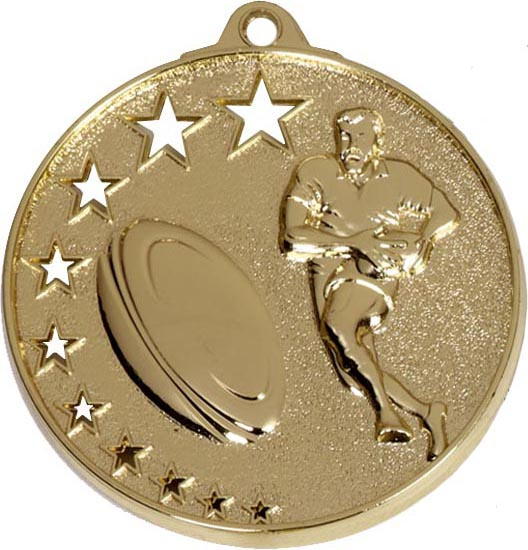 "Gold Rugby Medal with Stars 52mm (2"")"
