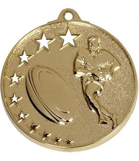 """Gold Rugby Medal with Stars 52mm (2"""")"""