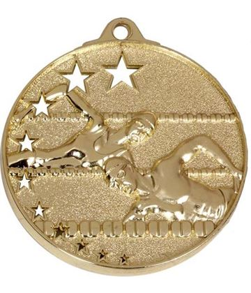 "Gold Swimming Medal with Stars 52mm (2"")"