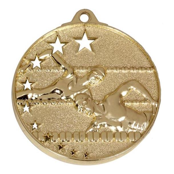 """Gold Swimming Medal with Stars 52mm (2"""")"""