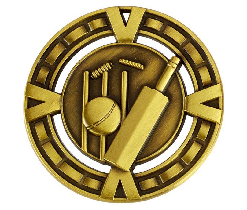 "Varsity Cricket Medal Antique Gold 60mm (2.25"")"