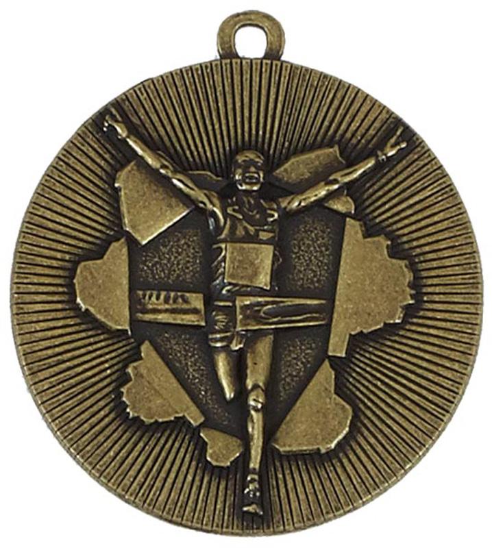 "Gold X-Plode Running Medal 50mm (2"")"