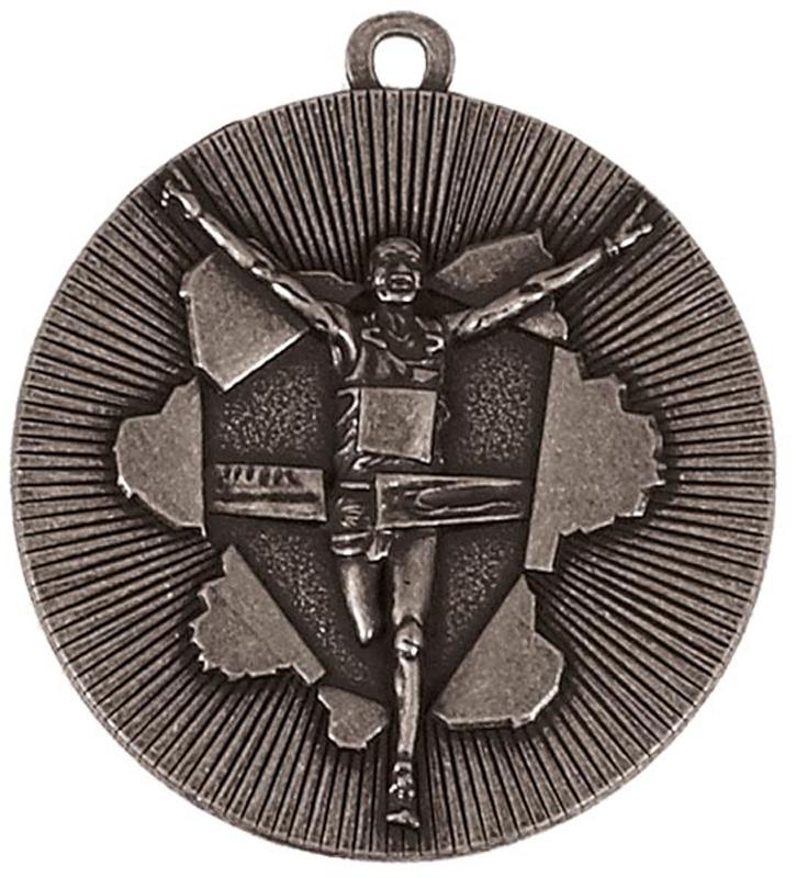 "Silver X-Plode Running Medal 50mm (2"")"