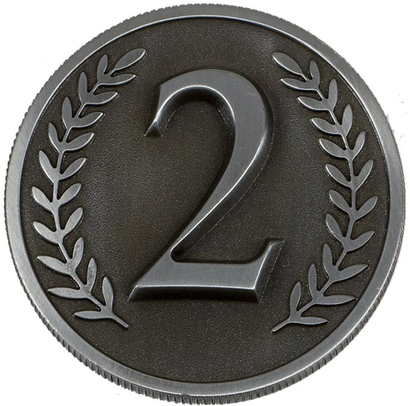 """Silver Heavyweight Prestige 2nd Place Medal 60mm (2.25"""")"""
