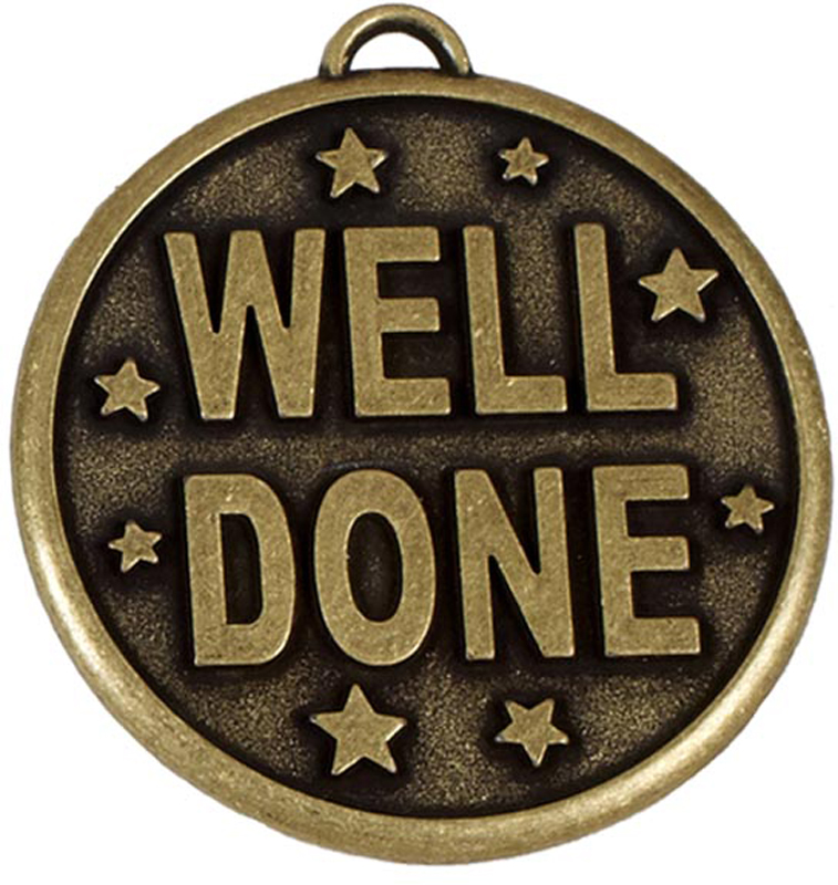 "Gold Well Done Stars Medal 50mm (2"")"