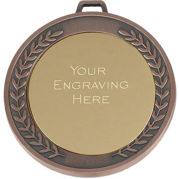 """Laurel Wreath Patterned Bronze Presentation Medal 70mm (2.75"""")"""