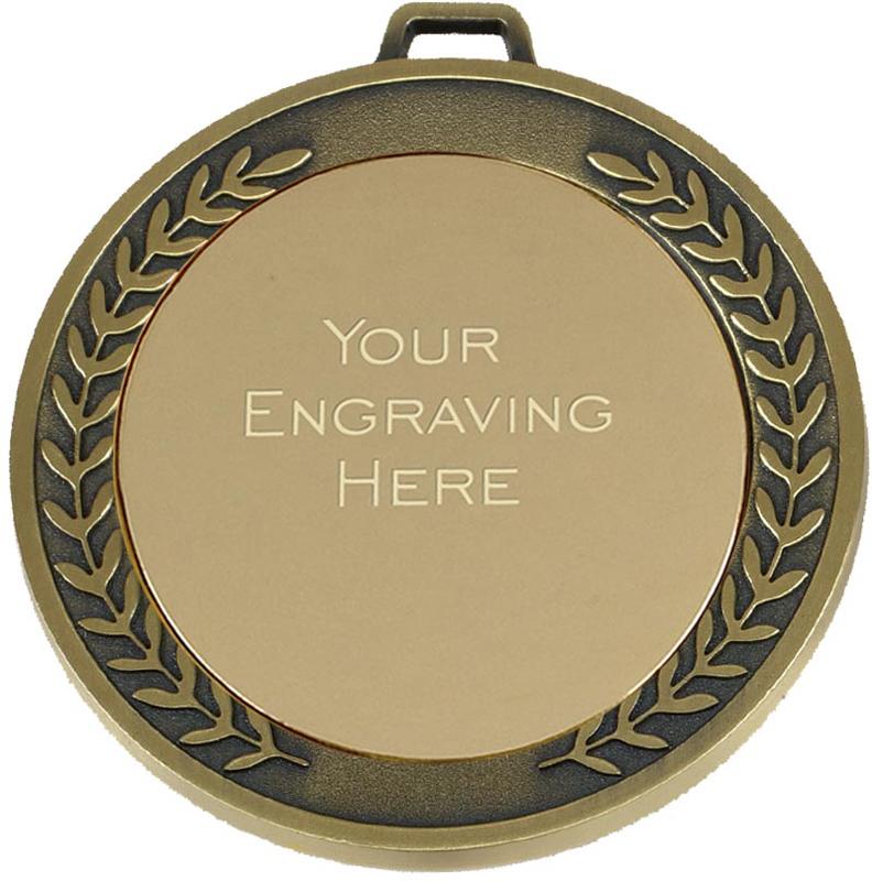 """Laurel Wreath Patterned Gold Presentation Medal 70mm (2.75"""")"""