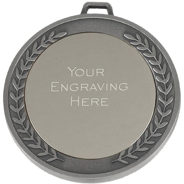 """Laurel Wreath Patterned Silver Presentation Medal 70mm (2.75"""")"""