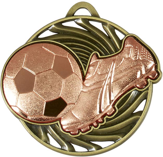 "Bronze Vortex Football & Boot Medal 50mm (2"")"