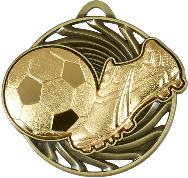 "Gold Vortex Football & Boot Medal 50mm (2"")"