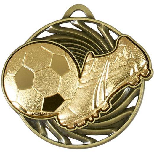 """Gold Vortex Football & Boot Medal 50mm (2"""")"""