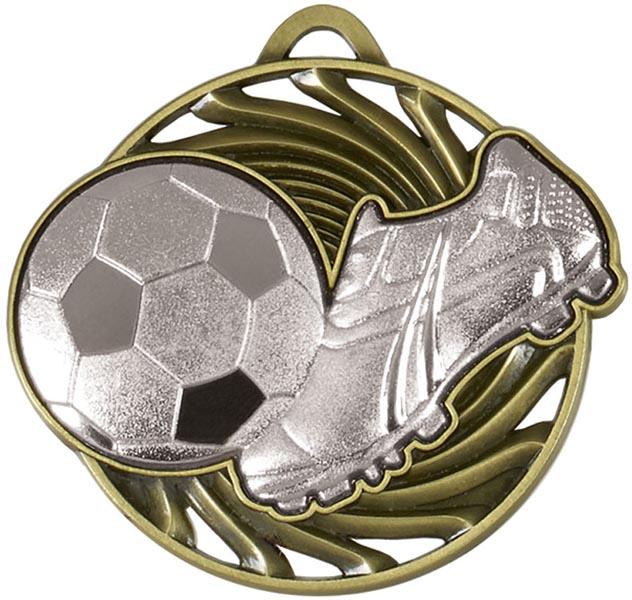 """Silver Vortex Football & Boot Medal 50mm (2"""")"""