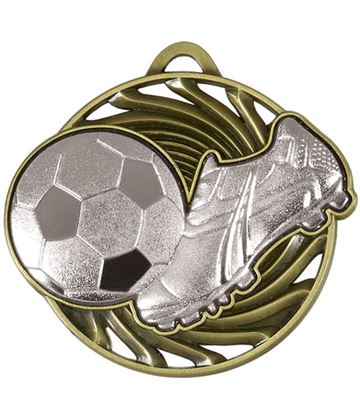 "Silver Vortex Football & Boot Medal 50mm (2"")"