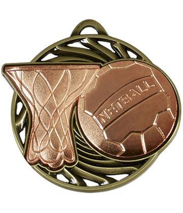 "Bronze Vortex Netball Medal 50mm (2"")"