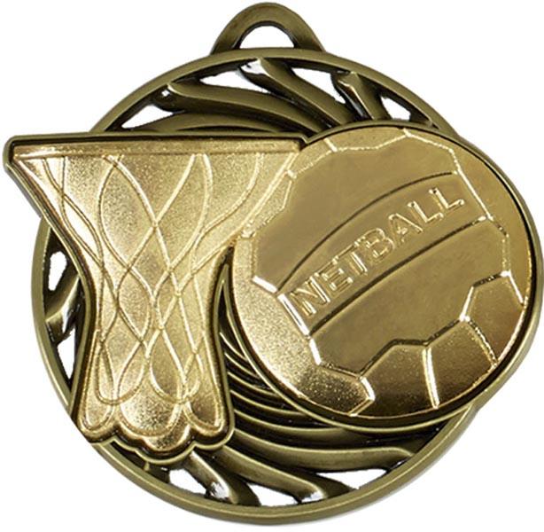 """Gold Vortex Netball Medal 50mm (2"""")"""
