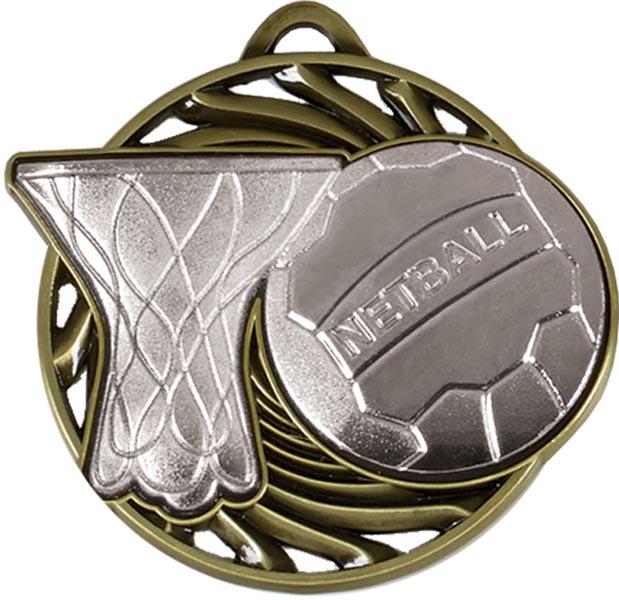 """Silver Vortex Netball Medal 50mm (2"""")"""