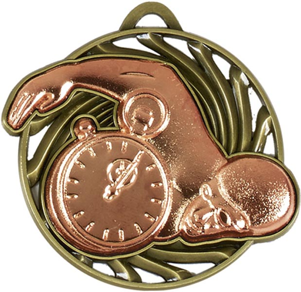 "Bronze Vortex Swimming Medal 50mm (2"")"