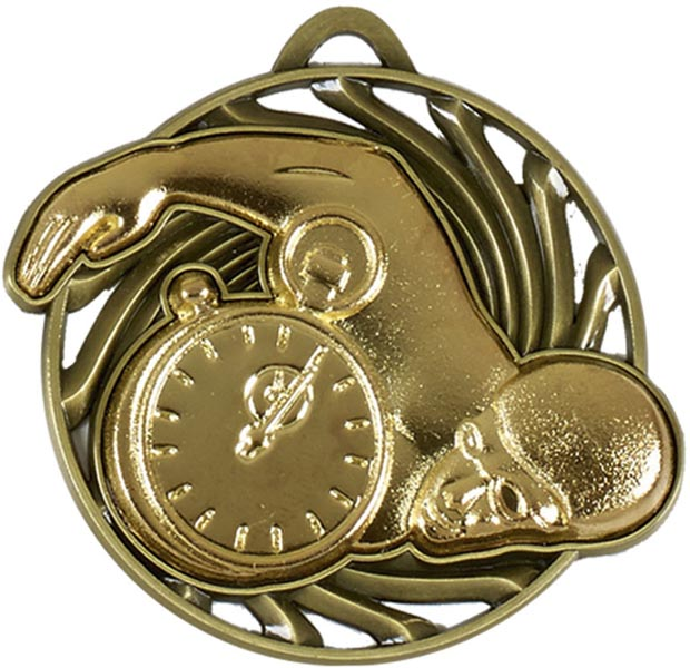 "Gold Vortex Swimming Medal 50mm (2"")"