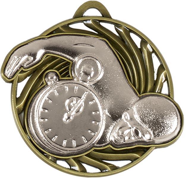 "Silver Vortex Swimming Medal 50mm (2"")"