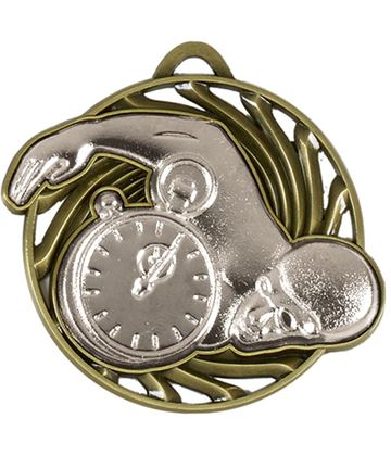 "Silver Vortex Swimming Medal 50mm (2"")"