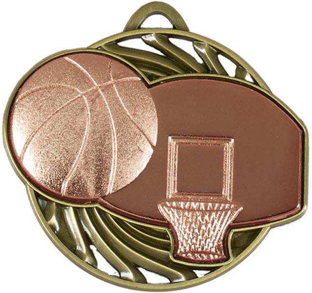 "Bronze Vortex Basketball Medal 5cm (2"")"