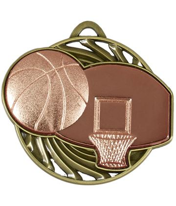 "Bronze Vortex Basketball Medal 50mm (2"")"